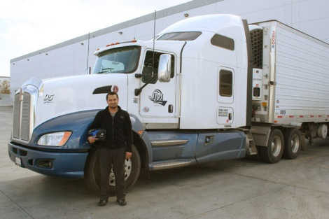 Driver with DK Express, Jessie Singh, preparing to hit the road.